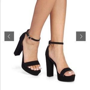 The One Black Platform Block Heels